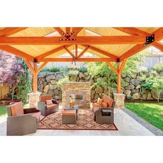 Nourison Aloha Indoor/Outdoor Red Rug - 3'6 x 5'6