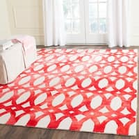 Safavieh Handmade Dip Dye Watercolor Vintage Ivory/ Red Wool Rug - 8' x 10'