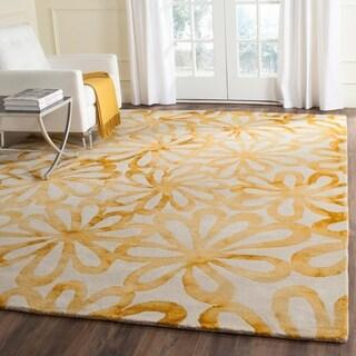 Safavieh Handmade Dip Dye Watercolor Vintage Beige/ Gold Wool Rug (8' x 10')