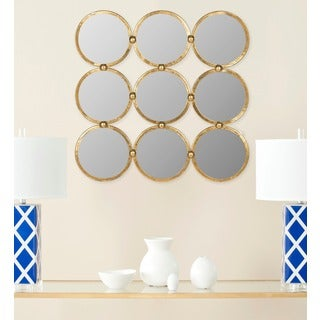 Circles In The Square Antique Gold Mirror