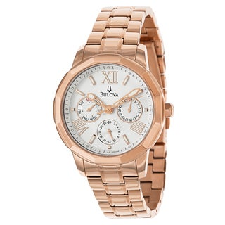 Bulova Women's 'Bracelet' Stainless Steel Rose Gold Plated Quartz Watch