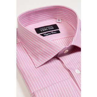Teri Jon Pour Monsieur Men's Pink Stripe Egyptian Cotton Dress Shirt