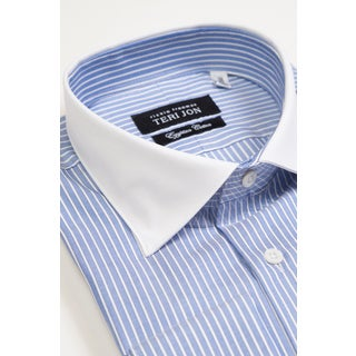 Teri Jon Pour Monsieur Men's Blue Stripe/ Solid White Collar Egyptian Cotton Dress Shirt