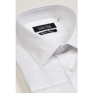 Teri Jon Pour Monsieur Men's White Barrel Cuff Egyptian Cotton Dress Shirt