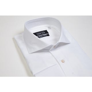 Teri Jon Pour Monsieur Men's Solid White Egyptian Cotton Dress Shirt