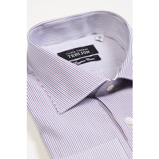 Teri Jon Pour Monsieur Men's Blue/ White/ Red Stripe Egyptian Cotton Dress Shirt