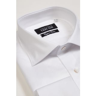 Teri Jon Pour Monsieur Men's White Spread Collar Egyptian Cotton Dress Shirt