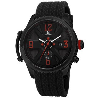 Joshua & Sons Sporty Men's Swiss Quartz Multifunction Black Strap Watch with FREE GIFT