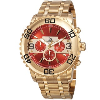 Joshua & Sons Men's Swiss Quartz Multifunction Dual Time Stainless Steel Gold-Tone Bracelet Watch