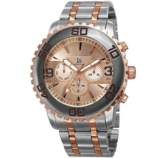 Joshua & Sons Men's Swiss Quartz Multifunction Dual Time Stainless Steel Two-Tone Bracelet Watch