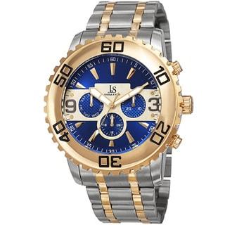 Joshua & Sons Men's Swiss Quartz Multifunction Dual Time Stainless Steel Two-Tone Bracelet Watch