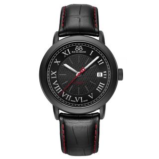 Rue Du Rhone Men's 87WA120035 'Double 8' Black Leather Watch