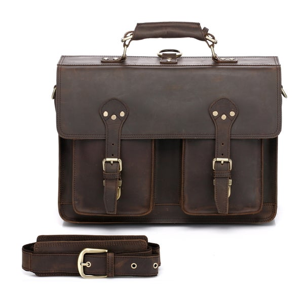 Vicenzo Leather Cambridge Full Grain Leather Briefcase Backpack ...