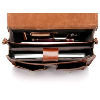 Vicenzo Leather Cambridge Full Grain Leather Briefcase Backpack