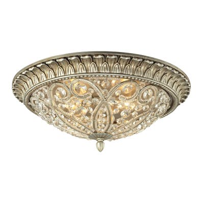 Andalusia 4-light Flush Mount in Aged Silver