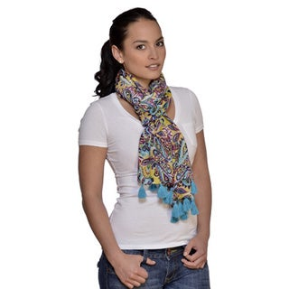 Amtal Multicolor Floral Scarf with Tassels