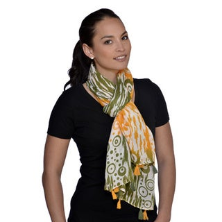Amtal Green/ Yellow Abstract Scarf with Tassels