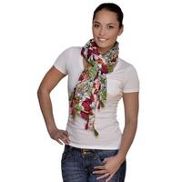 Amtal Multicolored Floral Scarf with Tassels