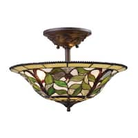 Latham 3-light Semi-flush in Tiffany-style Bronze with Highlight