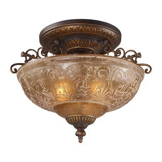 Restoration 3-light Semi-flush in Golden Bronze