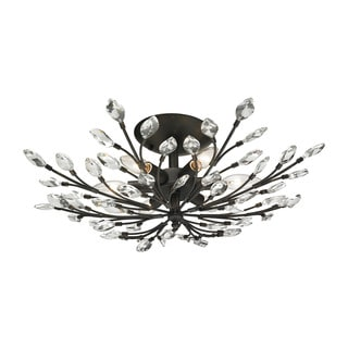 Crystal Branches 6-light Semi-flush in Burnt Bronze