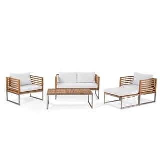 Bermuda Stainless Steel and Teak Luxury 5-piece Patio Conversation Set