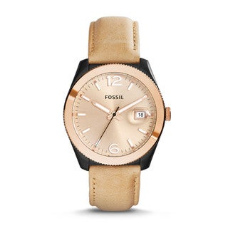 Fossil Woman's ES3777 Perfect Boyfriend Gold Dial Date Leather Watch