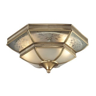 French Damask 2-light Flush Mount in Brushed Brass