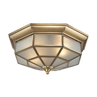 Linoka 2-light Flush Mount in Brushed Brass