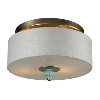 Lilliana 2-light Semi-flush in Seafoam and Aged Silver