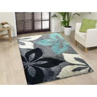 Hand-tufted Turquoise and Grey Shag Area Rug - 5' x 7'