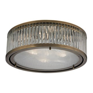 Linden 3-light Flush Mount in Aged Brass