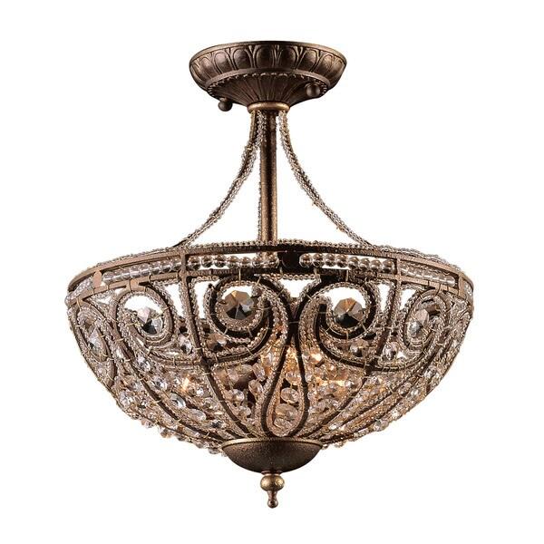 Shop Elizabethan 3 Light Semi Flush In Dark Bronze On