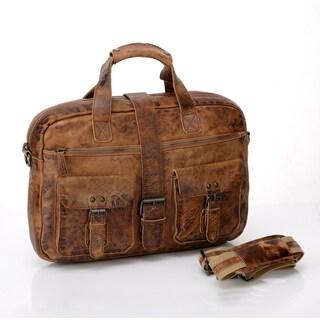 Vicenzo Raiders Rustic Columbia Rugged Full Grain Leather Messenger Bag