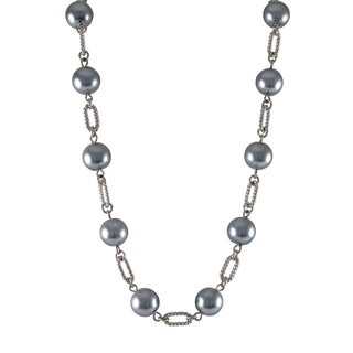 Luxiro Rhodium Finish Grey Faux Pearl Link Necklace