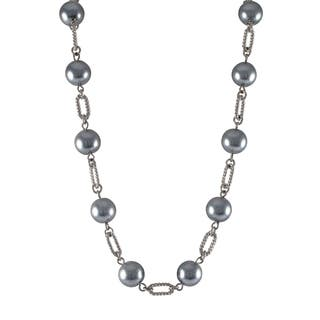 Luxiro Rhodium Finish Grey Faux Pearl Link Necklace|https://ak1.ostkcdn.com/images/products/10216854/P17339010.jpg?impolicy=medium
