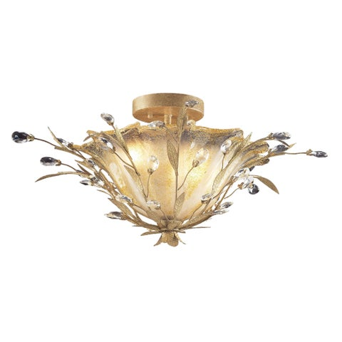 Circero 2-light Semi-flush in Russet Beige and Crystal Droplets