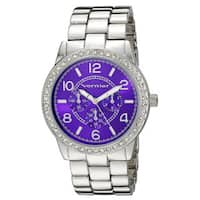Vernier Women's Color Dial Crystal Bezel Chrono-Look Bracelet Watch