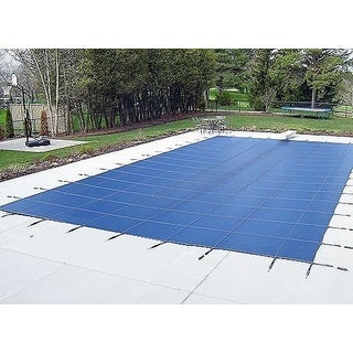 WATERWARDEN 'Made to Last' 18 x 34 ft. Pool Safetry Cover with 4 x 8 ft. Left Step for 16 x 32 ft. Pools