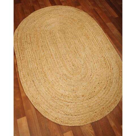 Hand-woven Castilla Oval Jute Area Rug (9' x 12')