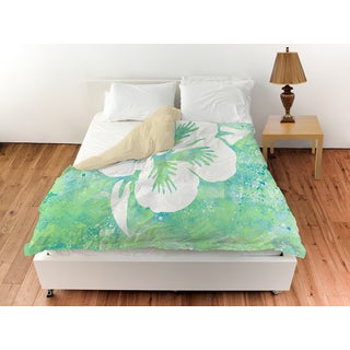 Sponge Paint Hibiscus Duvet Cover
