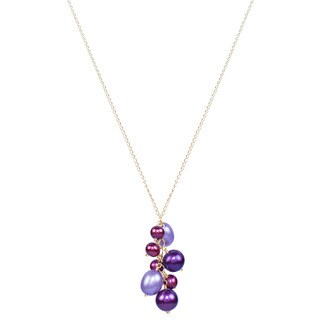 14K Yellow Gold 17-inch Multi Color Pearl Necklace
