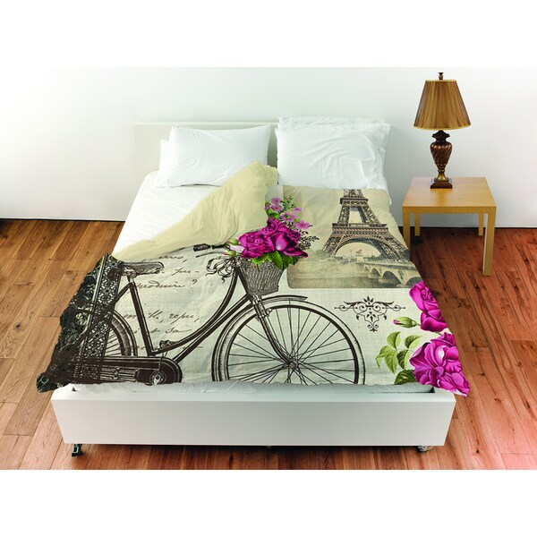 Springtime in Paris Bicycle Duvet Cover