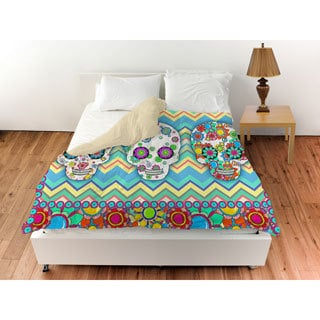 Sugar Skull Chevron Box Duvet Cover