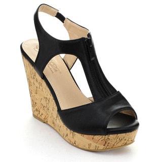 DBDK ILKA-1 Women's T-Strap Peep Toe Ankle Strap Zipper Platform Wedges