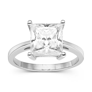 Charles & Colvard Sterling Silver 3.20 TGW Princess Cut Classic Moissanite Solitaire Ring