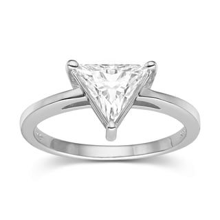 Charles & Colvard Sterling Silver 1.40 TGW Triangle Classic Moissanite Solitaire Ring