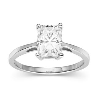 Charles & Colvard Sterling Silver 1.80 TGW Radiant Classic Moissanite Solitaire Ring