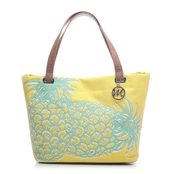 Emilie M. Aimee Canvas Pineapple Beach Tote. Opens flyout.