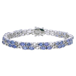 Sterling Silver Oval-cut 6 1/2ct Tanzanite Link Bracelet